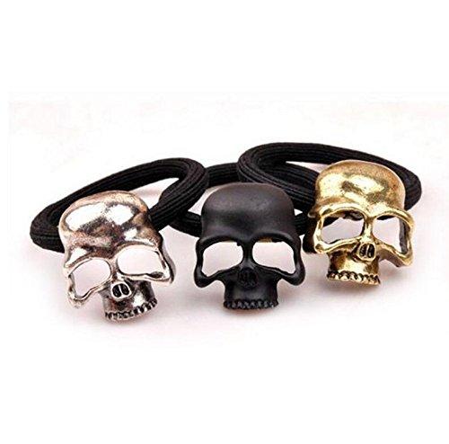 Lovely Gift 3 pcs Punk Gothic Metal Skull Hair Tie Rope Rubber Bands Skull Elastic Hair Bands Jewelry-Random KEANER