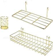 BULYZER - Estantería de pared con ganchos, estante para libros, estante de exhibición para panel de rejilla de