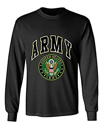 United States Army Long Sleeve T-Shirt Army Crest Patriotic Clothing, Black, S
