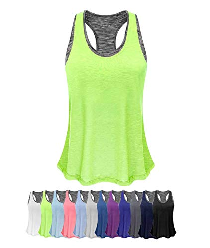 (Women Tank Top with Built in Bra, Lightweight Yoga Camisole for Workout Gym Fitness(Fluorescent Green&Gray Bra, L))