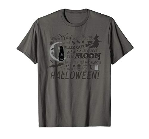 Spooky Halloween Poem Witches Black Cats and Bats T-shirt ()