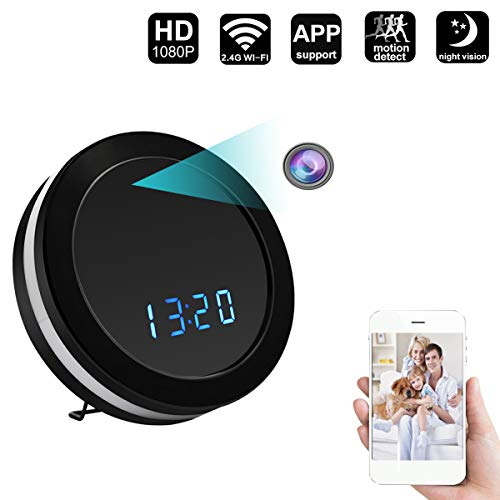 ZDMYING HD 1080P WiFi Spy Hidden Camera with Remote intercom, Night Vision, Ultra Wide-Angle Lens, Motion Detection, Loop Recording, Multi-Function Security Clock Nanny Camera