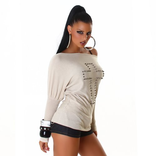 Long Londres unit femmes Jela manches Pull rivets OrfrqE