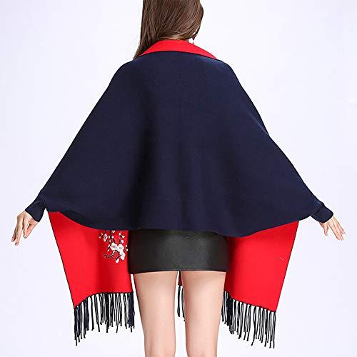 Liulife Darkblue In Sciarpa Primaverile Cardigan Ricamate Poncho Con A Capo Scialle Frange Cappotto Maglia Lavorato Del AnTpZArxSw
