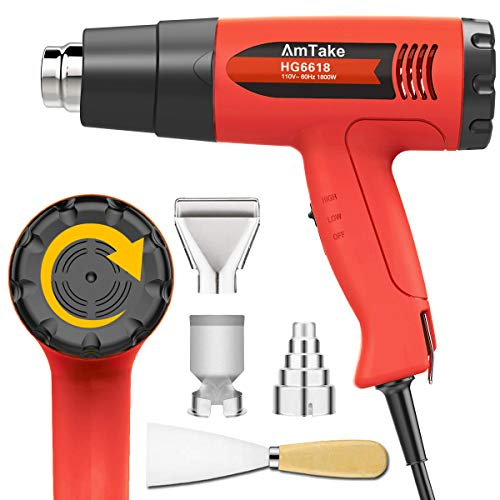 Heat Gun Variable Temperature, Amtake Professional Hot Air Gun 120°F - 1020°F (50℃~550℃) with 2 Fan Speed, 4 Attachments for Crafts, Heat shrink tubing, Stripping Paint, Welding from Amtake