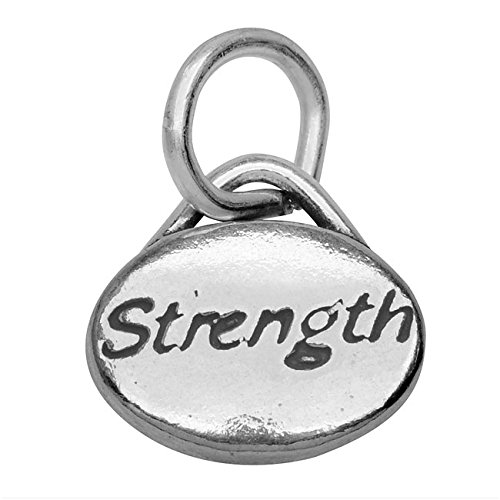 - Beadaholique Sterling Silver Message Charm, Strength' 11x8mm, 1 Piece, Antiqued Silver