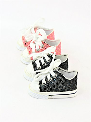 2 Pair Sequin Sneakers Black & Light Pink | Fits 18