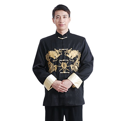 (EXCELLANYARD Chinese Tang Suit Dragon Kung Fu Jackets for Men Black M)