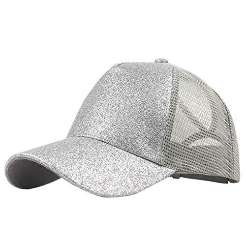 (Outique Plain Dad Hat,Ponytail Trucker Plain Baseball Visor Cap Unisex Glitter Hat Low Profile Silver)