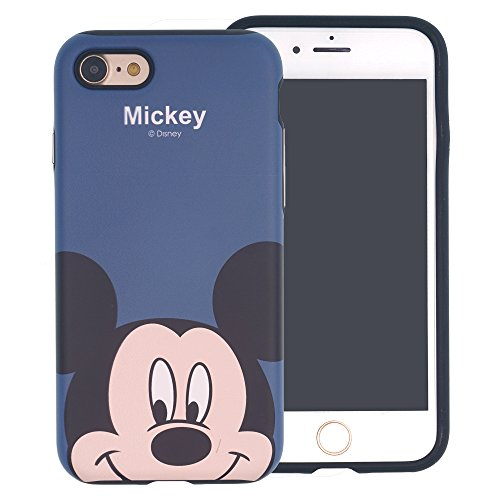 Funda iPhone 7 Plus [Protección híbrida contra caídas] DISNEY Minnie Mouse Linda Doble Capa Hybrid Carcasas [TPU + PC] Parachoques Cubierta para [ Apple iPhone7 Plus ] - Minnie Mouse Cartoon Mickey Mouse Look Down (iPhone 7 Plus)