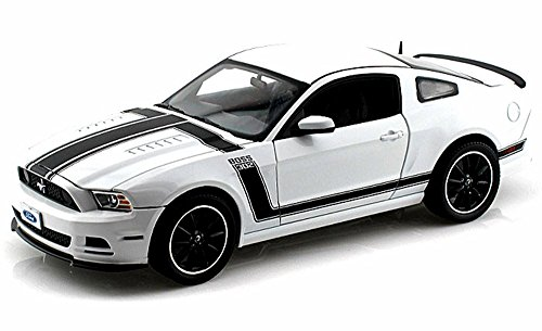 2013 Ford Mustang Boss 302, White w/ Black Stripes - Shelby SC452 - 1/18 Scale Diecast Model Toy -