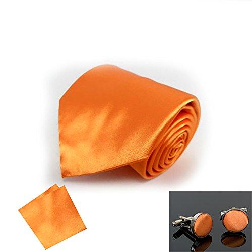 Square Dark Pocket Party Sendmart Satin Plain Normal CuffLink NeckTie Classic Orange Tie wS8OU