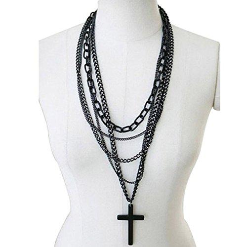 Doinshop 1pcs Fashion Retro Multi-layer Chains Pendant Black Cross Metal Long Necklace