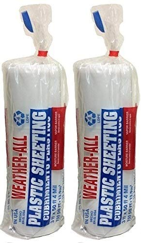 TRM Manufacturing 40350C Weatherall Visqueen Plastic Sheeting, Drop Cloth 3′ Wide x 50′ Length x 4.0 mil Thickness, Clear (2-(Pack)) For Sale