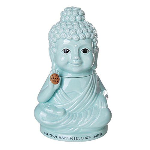Meditation Buddha Happiness Inside Ceramic Cookie Jar Functional Kitchen Decor 8 Inch Tall (Jar Ceramic Lid Cookie With)