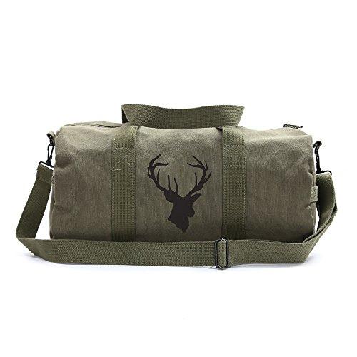 Hunting Deer Buck Antlers Sport Heavyweight Canvas Duffel Bag in Olive & Black, Large