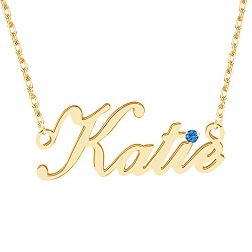 Name Necklace Personalized, Custom Made Nameplate Necklace Dainty Sterling Silver Gift for Mother Girlfriend ()