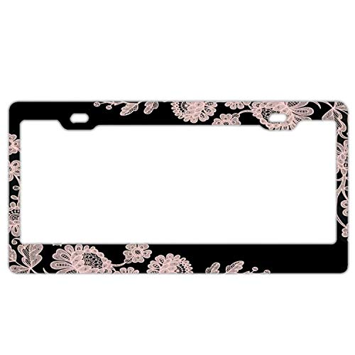 (YEX Abstract Pink Lace License Plate Frame Car Licence Plate Covers Auto Tag Holder 6