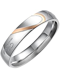 "Flongo Men's Womens""Real Love"" Heart Matching Stainless Steel Couples Engagement Ring Wedding Promise Band"