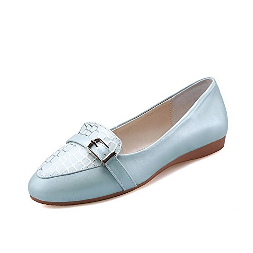 Odomolor Women's Pu Assorted Color Pull-On Pointed Closed Toe Low Heels Pumps-Shoes Blue Y72it24AT1