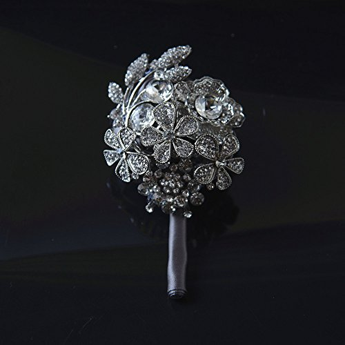 Abbie Home Customized Full Rhinestone Covered Brooch Pin for Men Boys on Wedding Party Prom Crystal Roses Flower Boutonniere(Grey) -