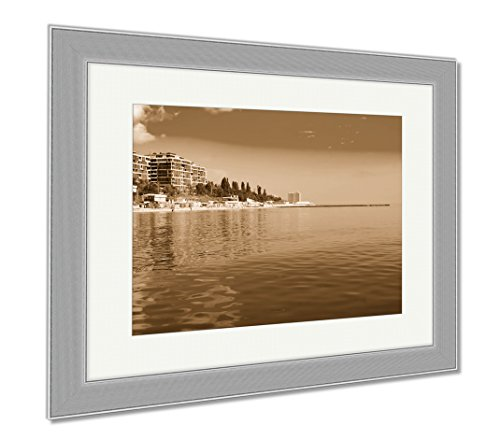 Ashley Framed Prints Panama City Beach Water Ocean USA Shore Many Row, Contemporary Decoration, Sepia, 26x30 (frame size), Silver Frame, - Sands Panama Beach City Silver