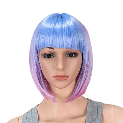 SWACC 10 Inch Blue Pink Ombre Multi-Colored Short Straight Bob Wig with Bangs Synthetic Colorful Cosplay Daily Party Flapper Wig for Women and Kids with Wig Cap (Fun Summer Hair Color For Short Hair)