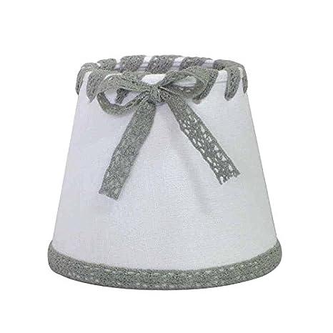 Better & Best Pantalla de lámpara de Lino, con Pinza de sujeción para Bombillas Vela, Tipo romántica, de 14 cm, Color Topo con Lazo y Cinta Blancos