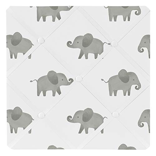 Sweet Jojo Designs Grey and White Fabric Memory Memo Photo Bulletin Board for Mint Watercolor Elephant Safari Collection