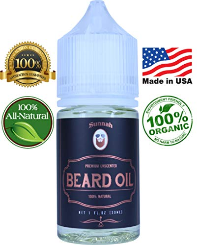 Unscented Beard Oil & Conditioner – Made in USA; Promotes Beard Growth Organic All Natural Argan & Jojoba Oils Softens, Nourishes & Strengthens Beards and Mustaches for Men Best Gift
