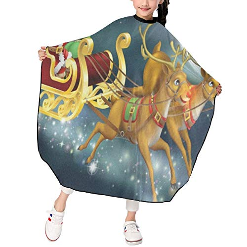 Styled Sleigh - Santa And Sleigh Kids Barber Cape Professional Home Salon Haircut Styling Smock Cover Cloth Waterproof Hair Cutting Apron for Child/Toddler