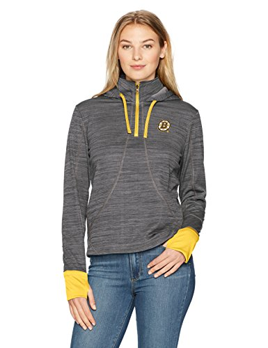 Boston Bruins Hooded Sweatshirt (NHL Boston Bruins Women's OTS Annabelle 1/4-Zip Pullover Hoodie, Jet Black, Small)