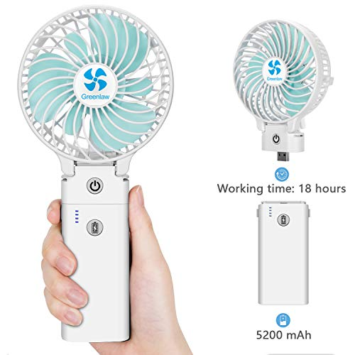 - Portable Mini Handheld Fan Personal Battery Operated Rechargeable Desk Fan - Detachable Foldable Design, 5200mAh Power Bank/4.5-18 Hrs working time, 3 Speeds Strong Wind for Home Outdoor Travel, white