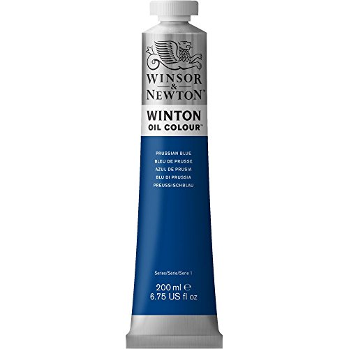Blue Oil Painting (Winsor & Newton Winton Oil Paint Tube, 200ml, Prussian Blue)