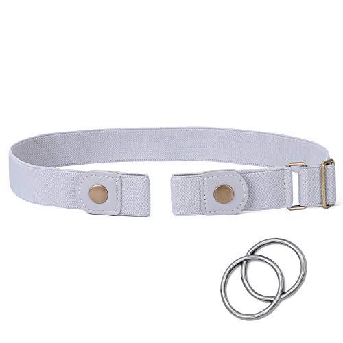 - Buckle Free Elasitc Belt for Women, SANSTHS No Buckle Adjustable Belt for Jeans No Bulge, Gray Plus Size