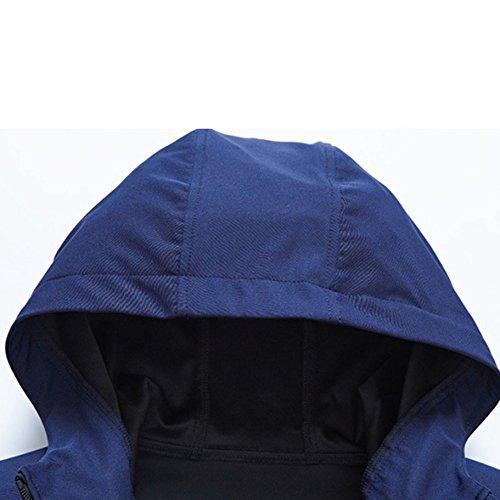 Elasticizzato Cappuccio Darkblue Trench Da Con Autunno Giacca Uomo Coat Nihiug Primavera Impermeabile v7pnxPg