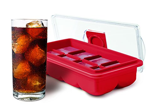 No-Spill Large Rubber Ice Cube Tray with Clear Lid for Easy Filling, Makes 8 Large Cubes, Red