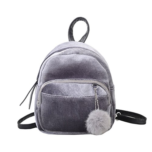 Women Girls Gold Velvet Mini Backpack, Pom Ball Zipper Shoulder Bag, Fashion Casual Travel School Bag Rucksack (Grey)