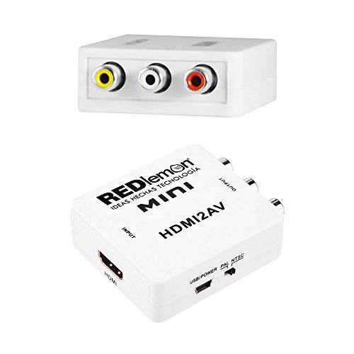 REDLEMON Adaptador y Convertidor HDMI a RCA 1080P, Digital a Análogo, para Audio y Video. Compatible con Consolas de...