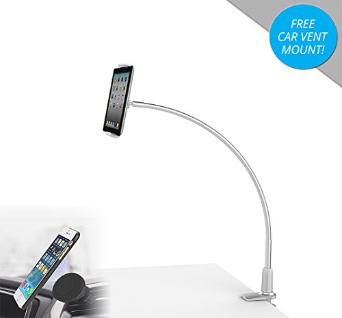 Mingo LP-7M Flexible Gooseneck iPad Mount and Tablet Holder with Heavy Duty Bolt Clamp Stand (Silver)