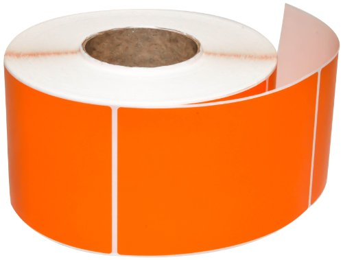 Compulabel 640135 Thermal Transfer Shipping Labels, 4 inch x 6 inch, Orange, Permanent Adhesive, Perforations Between Labels, 1000 Per Roll, 4 Rolls