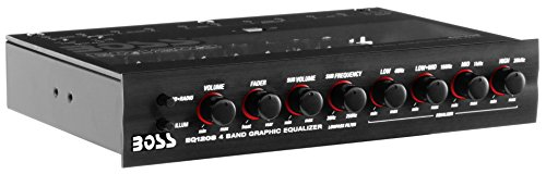 BOSS Audio EQ1208 4 Band Pre-Amp Half-DIN Car Equalizer, Subfoofer Output, Dual Color Illumination