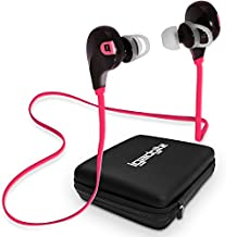 iGadgitz IGX-450S Wireless Bluetooth 4.0 Lightweight Stereo Sports In-ear Earphones Headphones (Music streaming and Microphone with Noise Reduction for Hands free Calling) with Case & Detachable Ear Hooks – Black/Bright Pink