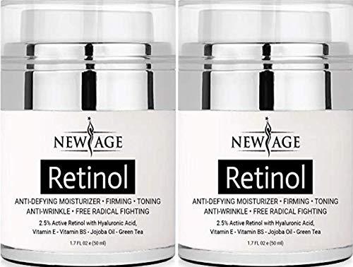 (2 Pack) New Age Retinol Cream Moisturizer Serum with Hyaluronic Acid, Vitamin E - Anti Aging Formula Reduces Wrinkles, Fine Lines-Day and Night Cream 1.7 Fl Oz (Men Age Defying Cream)