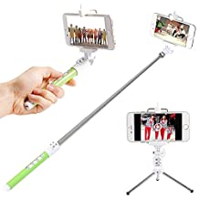 """Neewer® Multi-function Phone Photo-taking Self Portrait Kit for Most IOS and Android Smartphones, such as Samsung Galaxy S5 S4 S3 S2 Note 4 3 2, iPhone 6 6 Plus 5s 5c 5 4s 4, HTC One M8 M7 X, Google Nexus, Sony Xperia Z3 Z2, Kit Includes: (1)Wireless Bluetooth Remote Shutter Stick + (1)7.5""""-28""""/19cm-71cm Extendable Selfie Stick Monopod + (1)3""""-4""""/8cm-11cm Extendable Tripod + (1)Universal Adjustable Phone Clamp Holder + (1)Micro-USB Cable + (1)Soft Carrying Pouch (Green)"""