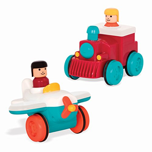 Battat - Pump and Go Plane + Pump and Go Train Combo - 2 Push and Go Vehicles with Pull-Back Action for Kids 18 months+ (Train Push)