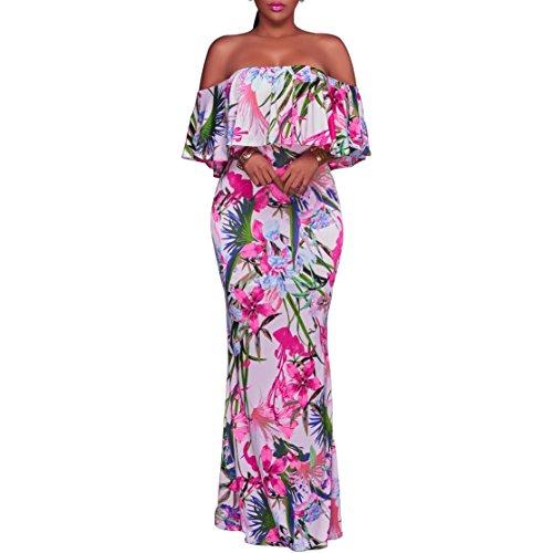Dynen Women's Off-the-Shoulder Floral Short-Sleeve Long Maxi Dress, Pink, (Tropical Floral Dress)