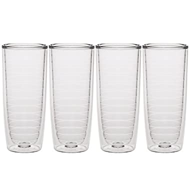 Culver Keen Cup Double Walled Insulated Tall Tumbler, 20-Ounce, Clear, Set of 4