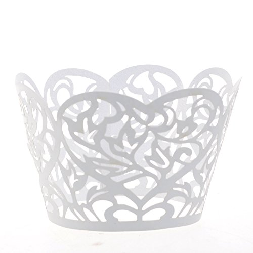 (Cosmos ® 24 Pcs White Lace Heart Cutout Cupcake Wrapper Wraps Liner Wedding Party Cake Decoration)