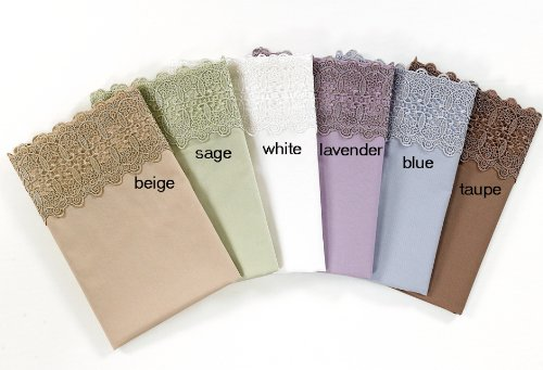 (KingLinen Sage 500 Thread Count Cotton Lace Sateen Sheet Set Queen)